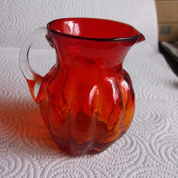 blown glass  pitcher with applied handle